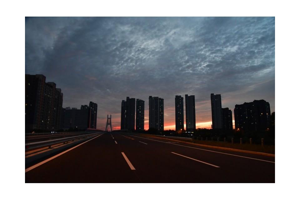 潮白大桥的晚霞——李月摄影