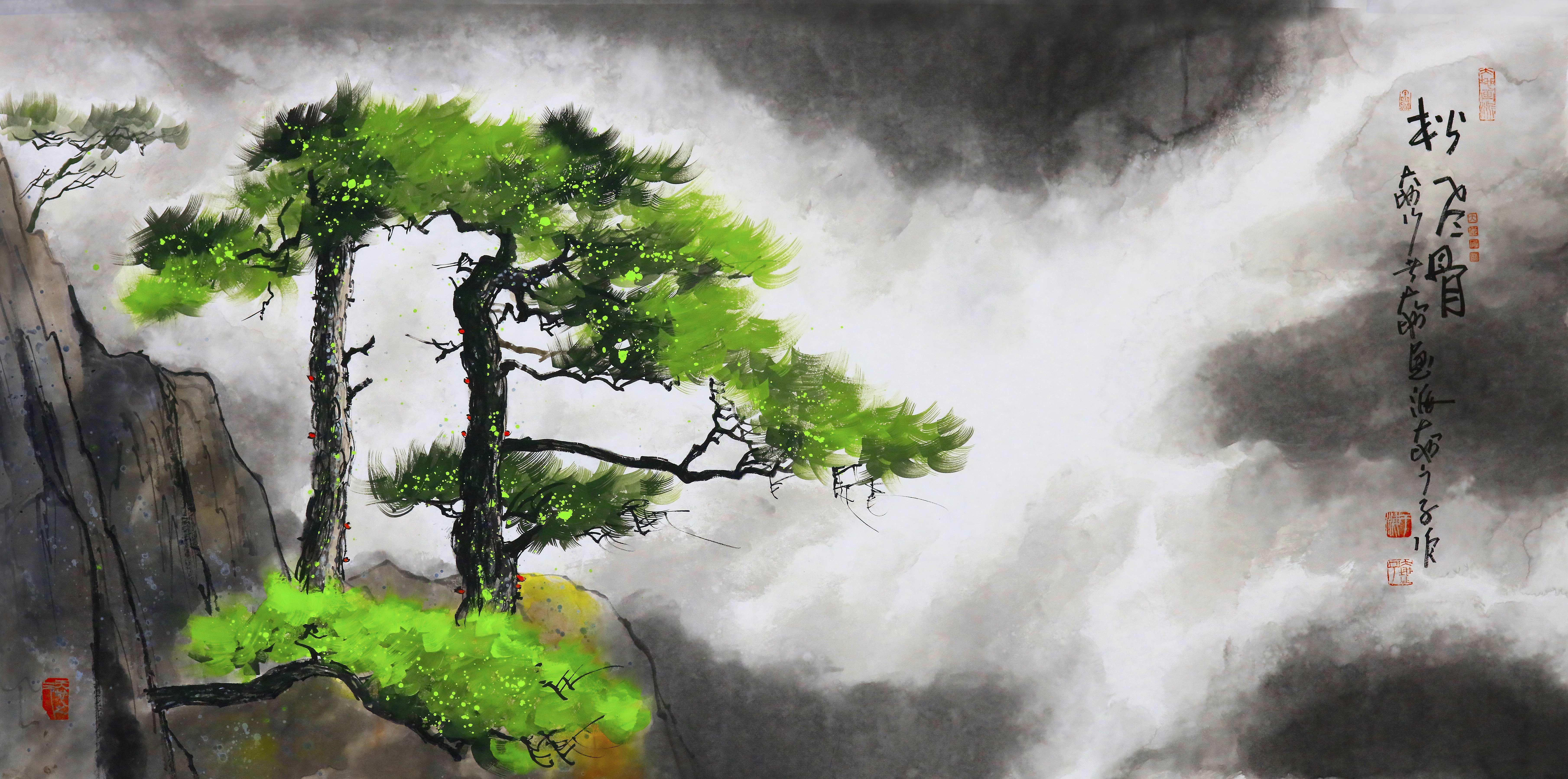 《松风骨》70<em></em>x140cm--水墨厚彩境画.jpg