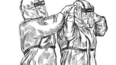 """武汉高校教师钢笔画记录战""""疫""""瞬间"""