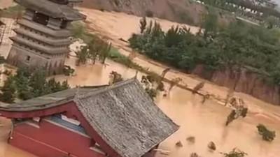 暴雨下的荥阳洞林寺受灾实况,千年古刹灾后修建迫在眉睫
